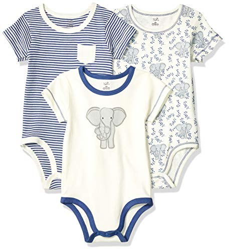 Touched by Nature Unisex Baby Organic Cotton Bodysuits, Elephant 3-Pack, 0-3 Months