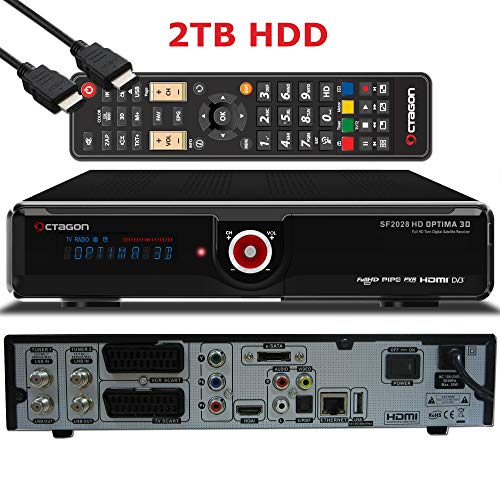 OCTAGON SF2028 Twin HD 3D Optima - H.264 Twin Tuner, PVR SAT Festplattenreceiver, BlindScan, Timeshift, Media-Server, USB, 1x CI + 1x Kartenleser, HDMI-Kabel (2X DVB-S2 Tuner, schwarz - 2TB HDD)