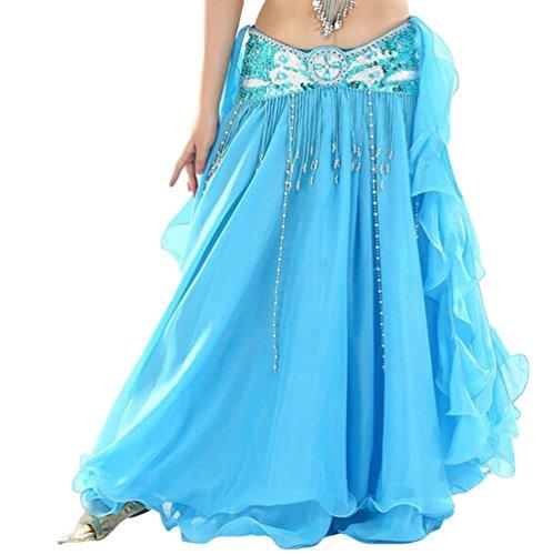 YuanDian Damen Chiffon Einfarbig Professionelle Tänzerin Bauchtanz Spliss Öffnungs Swing Long Rock Tanzkostüm Bauch Dance Kleid See Blau (Nicht inbegriffen ist Gürtel)