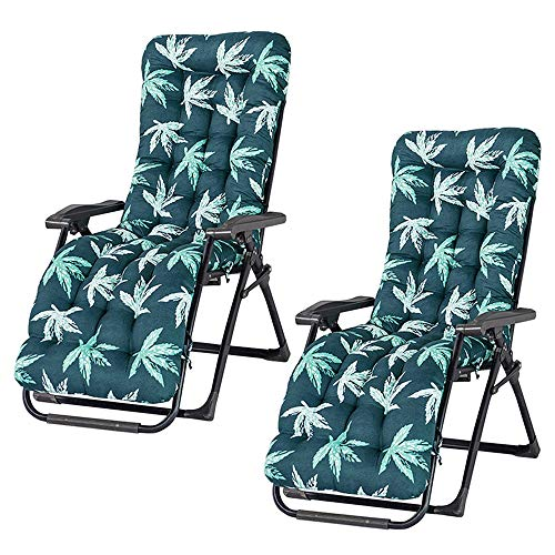 Photo of willkey Sun Lounger Cushion Thick Lounge Chair Pads Replacement Non-Slip Garden Patio Recliner Relaxer Chair Cushion Sunbed Padded Mat For Indoor Outdoor Travel Holiday (Green Leaves, 2 PCS)
