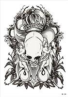 (ファンタジー) THE FANTASY タトゥーシール 髑髏 スカル 白黒 Skull-1【中型・A5】 (hb338)