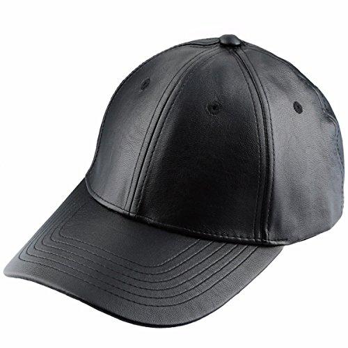 Samtree Unisex Baseball Cap,Adjustable PU Leather Corduroy Sun Protection Sport Hat(01-Black(Leather))