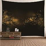 Aeici Wandbehang Tapisserie Tapestry Indian 260x240 cm,Leuchtende Sterne Wandtuch für Kinder Wandteppich Zimmer Schwarzes Gold