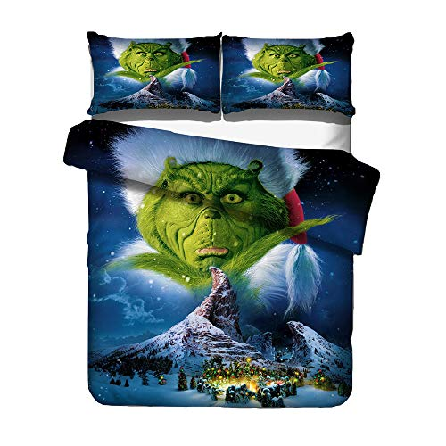 Fittrame Christmas Grinch Bedding, Men Women Printed How The Grinch Stole Christmas Duvet Cover Set Unisex Boys Girls Printed 3PCS Bedding Sets Include 1 Duvet Cover, 2 Pillowcases (200x200-3pcs,04)