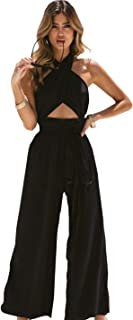 Itemnew Women`s Criss Cross Halter Backless Cut Out Bow Knot Wide Leg Pant Jumpsuit Rompers