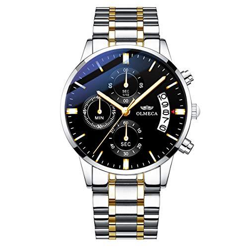 OLMECA Men's Watches Luxury Wristwatches Waterproof Fashion Quartz Watches Watch Stainless Steel Watch Black Color 0869M-JJHMgd