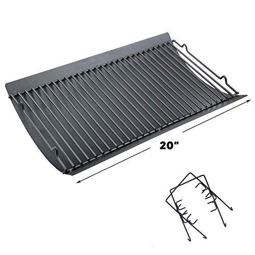 Uniflasy 20 Inches Ash Pan/Drip Pan for Chargriller 5050, 5072, 5650, 2123 Charcoal Grills, Char-Griller Model 200157, Chargriller Replacement Part with 2pcs Fire Grate Hanger