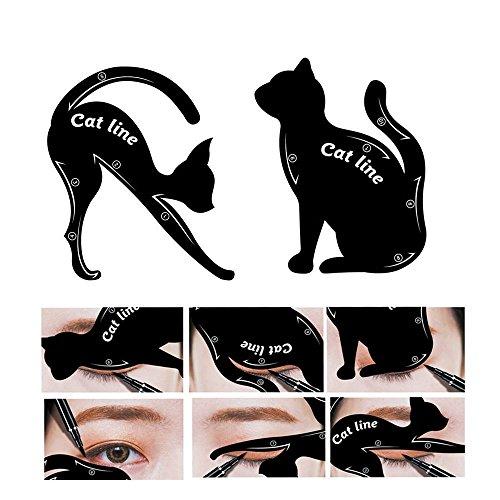 Chinget Eyeliner Schablone Katze Form Cat Eyeliner Vorlage Smoky Lidschatten Applikatoren Augen Make-up Werkzeug