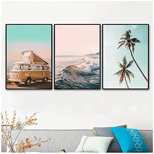 Mar olas playa palmera coche tabla de surf pared arte lienzo pintura carteles nórdicos e impresiones cuadros de pared para decoración de sala de estar Mwypec
