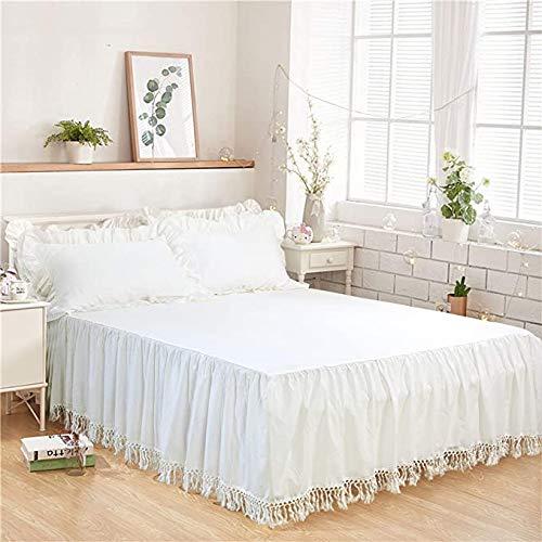 Softta California King Bed Rock Quaste Rüschen Bettwäsche Solid White Bohemian Boho 100% gewaschene Baumwolle
