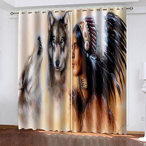 XKSJWY Cortinas Salon Dormitorio Moderno 2 Piezas 3D Personalidad Animal Lobo Patrón Cortinas Ventana Opacas Termicas Aislantes Frio Y Calor, Cortinas Habitacion Juvenil con Ojales 280X260Cm