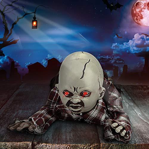 E-More Halloween-Dekorationen Zombies-Puppen, großes lebensgroßes kriechendes Halloween-Zombie-Baby mit leuchtenden LED-Augen, gruseligem Stöhnen, faltbaren Händen und Füßen