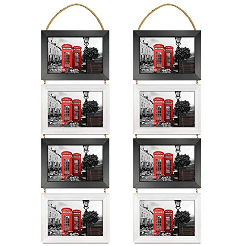 EdenseeLake 4x6 Collage Picture Frame Set, 8 Opening Horizontally Hanging Rope Photo Frames for Wall Decor