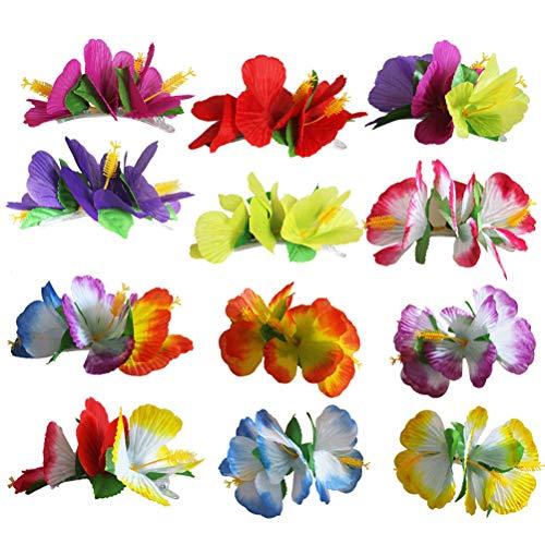 Toyvian 12 stücke Blume Haarspangen Baby Mädchen Hawaiian Hibiskus Snap Haarspange Barrettes Kinder Frauen Haarschmuck
