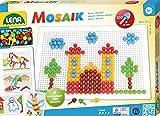 Lena 35608 Steckmosaikspiel mit 200 Steckern, Color Mosaiksteine mit Ø von 10 mm, Mosaikspiel mit Steckvorlagen, Stiftplatte 28 x 19,5 cm, Steckspiel für...