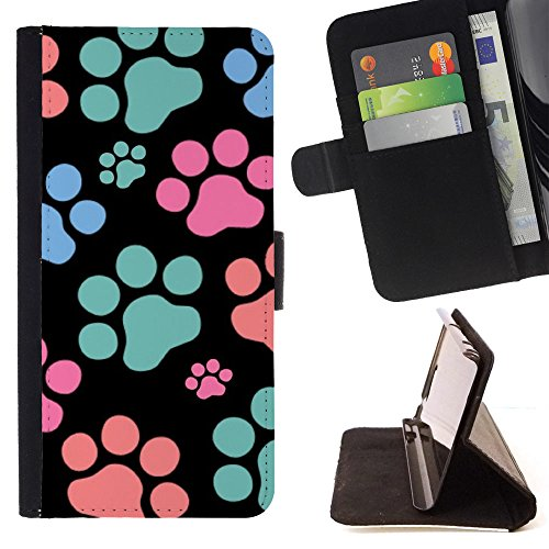 FJCases Paws Print Animal Slim Wallet Card Holder Flip Leather Case Cover for Google Pixel 2 XL