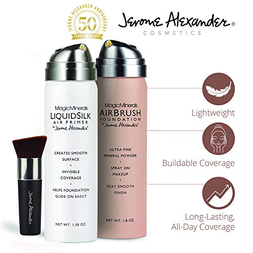 MagicMinerals AirBrush Foundation Set by Jerome Alexander (LIGHT MEDIUM) – 3pc Set Includes Primer, Foundation and Kabuki Brush - Spray Makeup with Anti-aging Ingredients for Smooth Radiant Skin