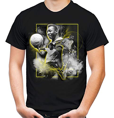 Brasilien Legenden Männer und Herren T-Shirt | Fussball Trikot Fan (L, Schwarz)