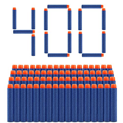 welltop 400 Pezzi Refill Bullet Foam Freccette Munizioni per Nerf N-Strike Elite Series Blasters Giocattolo per Bambini (Blu)