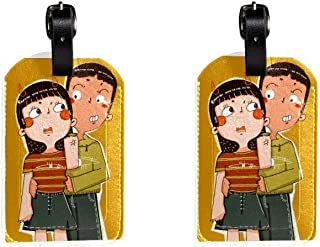 Boy And GirlLeather Luggage Tags Suitcase Labels Bag Travel ID Bag Tag, 1 Pcs