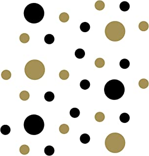 Black/Metallic Gold Vinyl Wall Stickers - 2 & 4 inch Circles (30 Decals)