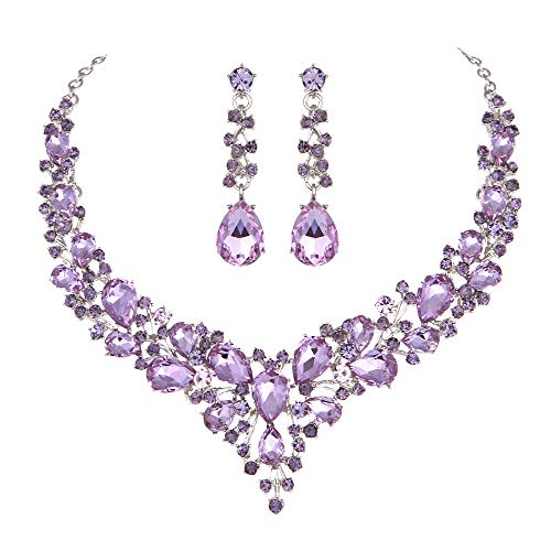 Molie Youfir Bridal Austrian Crystal Necklace and Earrings Jewelry Set Gifts fit with Wedding Dress (Light Purple)