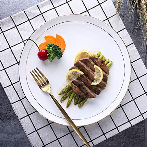 XIUXIU Assiette À Dessert En Céramique Européenne Simple Plat Européen Plat De Ménage De Couleur Unie Or Rayé En Céramique (Taille : 27x2.3cm)