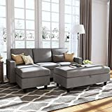 HONBAY Grey Sectional Couch with Ottoman, Convertible L Shaped Chaise Sofa Set Sectional with Left or Right Facing (Grey)