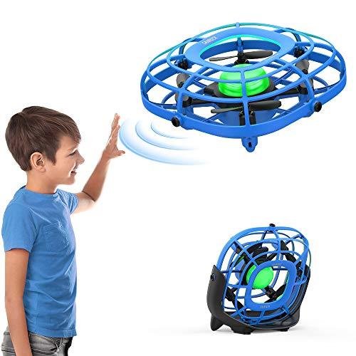 SANROCK U58 UFO Drohne, 2-in-1 Mini UFO Drohne für Kinder und USB Mini Lüfter, Fliegender Ball Handsteuerung, Flugzeuge Spielzeug, Hubschrauber Quadrocopter mit 360°Rotierenden und LED-Leuchten, Blau