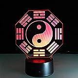 Lampada cinese Yin Yang Tai Chi Bagua modello illusione ottica lampada 3D lampada da notte luce acrilica atmosfera lampada a 7 colori moderna