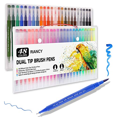 PUBU 24/48 Colors Dual Tip Brush Marker Pens - Colored Fine and Brush Tip Dual Pen Journal Pen Set for Lettering Writing Coloring Drawing (School Office Art Supplies)