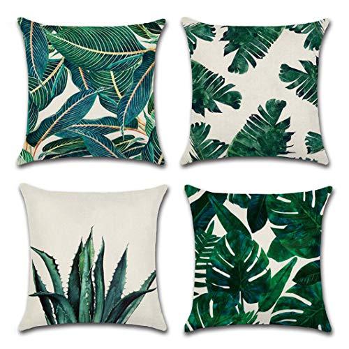 ISIYINER Bomull linne fyrkantigt kuddöverdrag gröna tropiska löv prydnadskuddöverdrag för soffa vardagsrum bäddsoffa 45 x 45 cm, set med 4