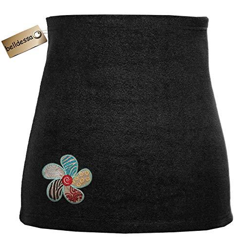 Belldessa Nierenwärmer Uni schwarz schwarzer türkis braun Blume Blüte Applikation Bauchwärmer Fleece Frottee Nierengurt Leibwärmer Männer Frau Kinder Sport Baby Gr. Grö..