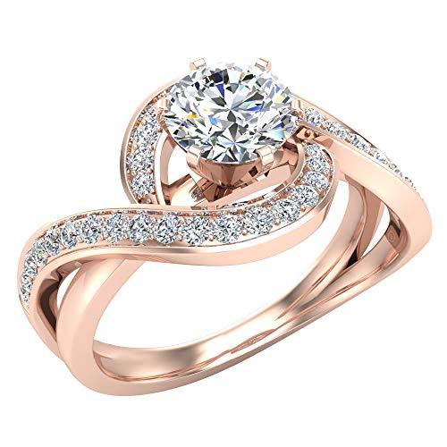 Glitz Design Mujer Niños Hombre Unisex oro 14 quilates (585) oro rosa 14ct Round Brilliant J-K Diamond