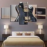 KDSFHLL 5 Pinturas Decorativas Lienzo Wall Art HD Impresiones 5 Piezas Rock Guitarra eléctrica Instrumento Musical Imágenes para Sala de Estar Decoración del hogar