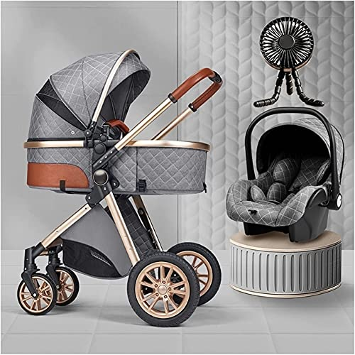 Cochecitos para bebés 3 en 1 Sistema de viaje con carro de bebé plegable con asiento de automóvil Fácil plegado Pasillo Manta Manta Funda de enfriamiento Cubierta de lluvia Mosquitera Net Mochila Flip