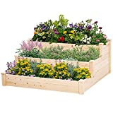 Betterland Outdoor 3 Tier 4x4 FT Wooden Raised Garden Bed Planter Box Kit for Vegetables Fruits Herb Grow, Patio or Yard Gardening, Flowers Natural