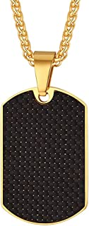 Richsteel Carbon Fiber Military Dog Tag Pendant Necklace for Men Boys Stainless Steel/18K Gold Plated Personalized ID/Name Jewelry with 22''Chain(+2''Extended)