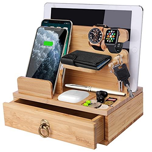 iCozzier Bamboo - Stazione di ricarica da scrivania per più dispositivi Dock Station Watch Organizer portachiavi con cassetto per Watch, AirPods, Pad, smartphone, tablet, bambini