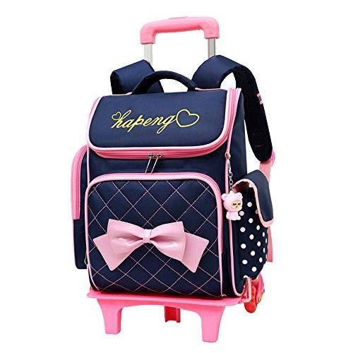 Fanci Bowknot Princess Style Waterproof Primary Rolling Trolley School...