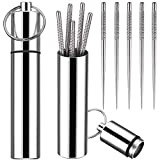 Portable Mini Pocket Toothpick Holder with 10 Pieces Reusable Titanium Toothpicks Waterproof Toothpick Case Toothpick Fruit Picks with Keyring for Outdoor Picnic Camping Traveling Supplies