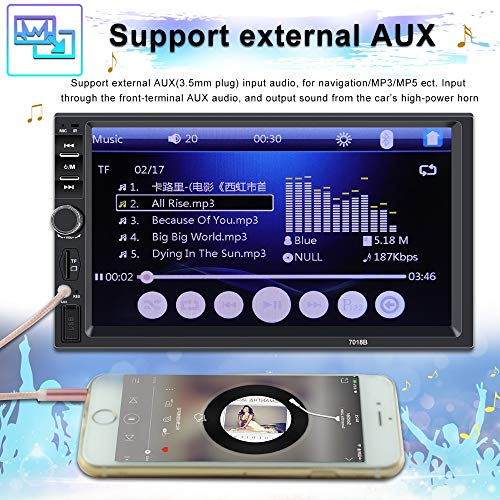 Keshangda 7 Inch Double Din Car Stereo MP5 MP3 Player with Bluetooth//AM//FM//USB//AUX in//Rear View//Mirror Link//Camera Support Steering Wheel Control