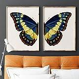 Arte de la mariposa azul Pintura de la acuarela Arte de la pared Cartel de la lona Alas de mariposa Impresiones de insectos Cuadros de pared Decoración del hogar 15.7'x 19.6' (40x50cm) x2 Sin marco
