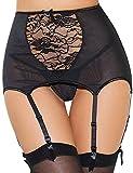 ohyeahlady Liguero Sexy Encaje con 6-Ligas Ajustables Cintura Alta Talla Grande para Medias con Tanga para Mujer