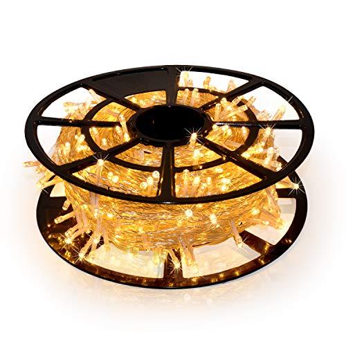 JMEXSUSS 206FT 600 LED ChristmasLightsOutdoor Waterproof 8 Modes ChristmasString LightsWarm WhiteChristmasTreeLights Indoor Plug in