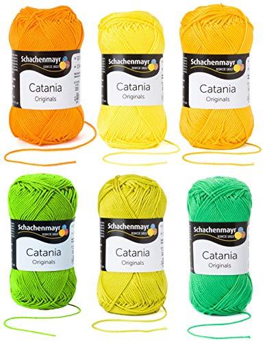 6x50 Gramm Schachenmayr Woll-Set Baumwollgarn Catania zum Stricken und Häkeln inkl. detallierter Anleitung für EIN Meerschweinchen (Gelb Grün Mix C31)