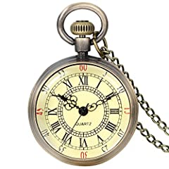 【Simple & Elegant】Simple vintage style pocket watch,classic roman numerals dial is shown clearly under the transparent glass lid,matching with the yellowish dial background,giving it an old-time elegant sense. 【Easy Operation】A:Setting Time - pull th...