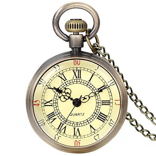 JewelryWe heren dames zakhorloge, vintage eenvoudig horloge hanger analoog kwarts kettinghorloge pullover halsketting ketting met goud Romeinse cijfers wijzerplaat