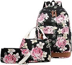 Abshoo Floral Backpacks For Girls Canvas School Bookbags Teen Girls Backpacks With Lunch Bag (Floral Black)