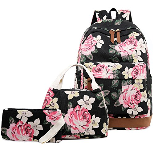 Abshoo Floral Backpacks For Girls Canvas School Bookbags Teen Girls Backpacks With Lunch Bag (Floral Black)